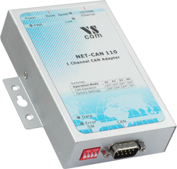 Vscom NET-CAN 110, a CAN Bus Gateway for Ethernet/Internet