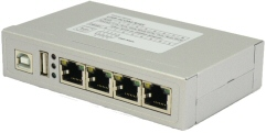 VScom USB-4COM RJ45, a quad port USB-to-Serial RS232 adapter