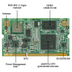 SOM-AM335x SOM with Ti Sitara ARM RISC Cortex-A8, in SODIMM-204 format